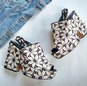 Alice + Olivia • floral platform wedge booties